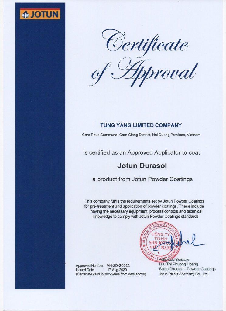 Tung Yang đạt chứng nhận tiêu chuẩn bảo hành 30 năm của hai hãng sơn Tiger và Jotun